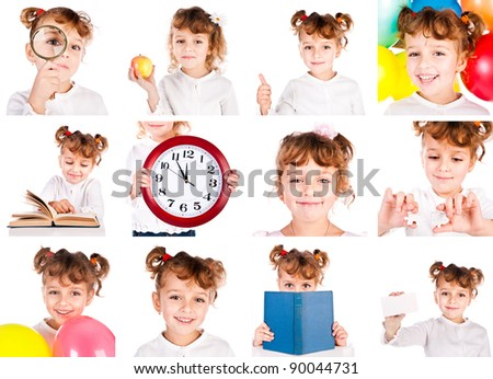 set of child isolated on a white background