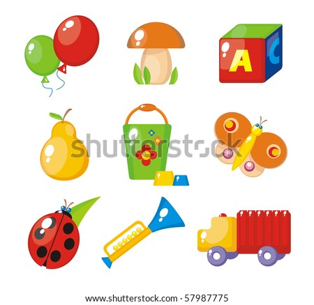 Set of child's pictures for a kindergarten - stock photo