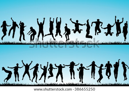 Set of children and young people jumping outdoor