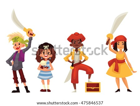 Set of children dressed as pirates, cartoon style illustration isolated on white background. Boys girls in pirate fancy dresses with swords and treasure chest, kids on Halloween birthday party