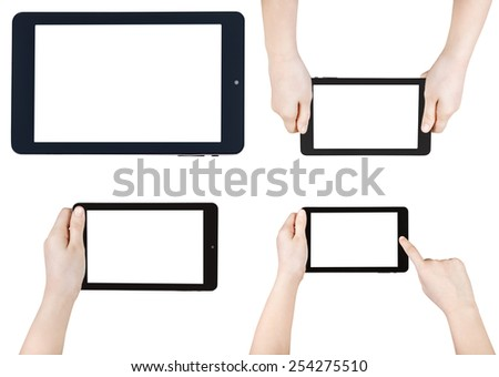 set of children hands with tablet pc with cut out screen isolated on white background - stock photo
