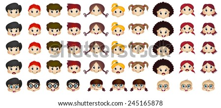 Set of children head cartoon - stock photo