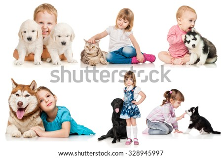 Set of children with dogs and cats