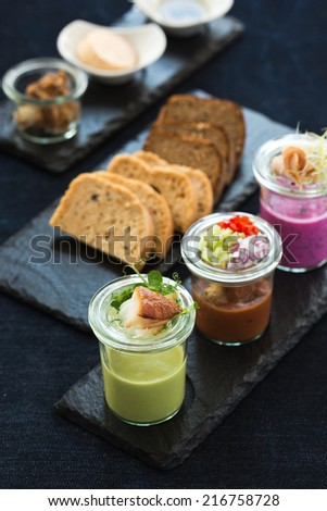 set of chilled soups - stock photo