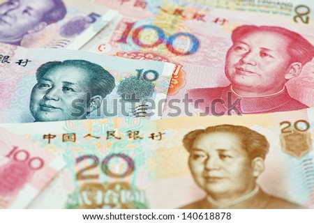 Set of chinese currency money yuan renminbi. Close-up - stock photo