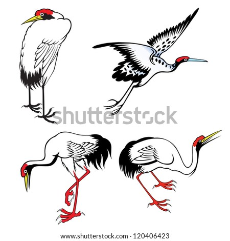 set of chinese heron painting on the white background