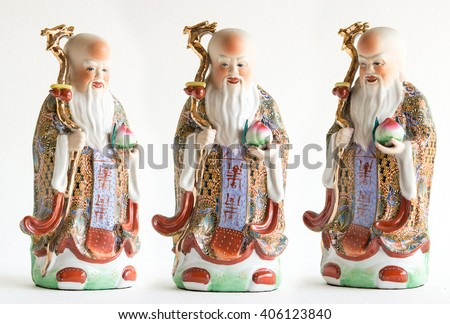 "Set of Chinese lucky gods,Shou or Xiu statues ""God of Longevity"" on White background"