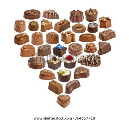 Set of chocolate candie, chocolate collection. Heart from chocolate candies isolated on white background
