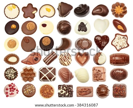 Set of chocolate candie, chocolate collection top view isolated on white