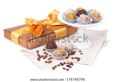 Set of chocolate candies isolated on white - stock photo