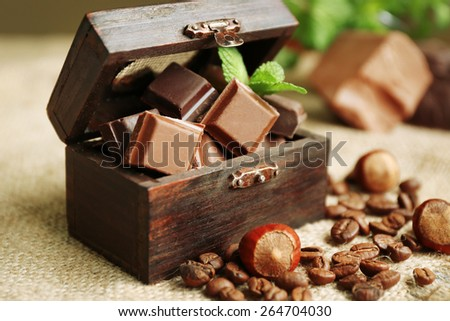 Set of chocolate in box, closeup - stock photo