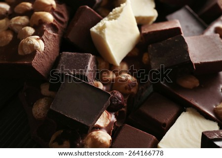 Set of chocolate with hazelnut, closeup - stock photo