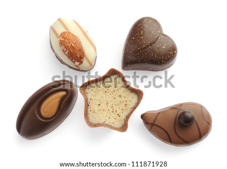 set of chocolates isolated on a white background - stock photo
