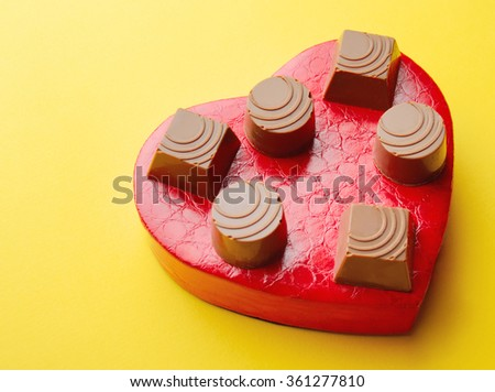 set of chocolates on Valentine's Day