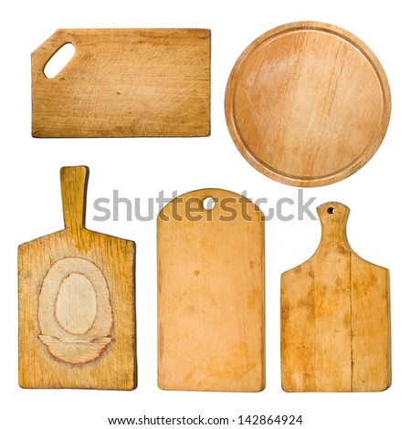 set of chopping different  old  boards isolated on white - stock photo