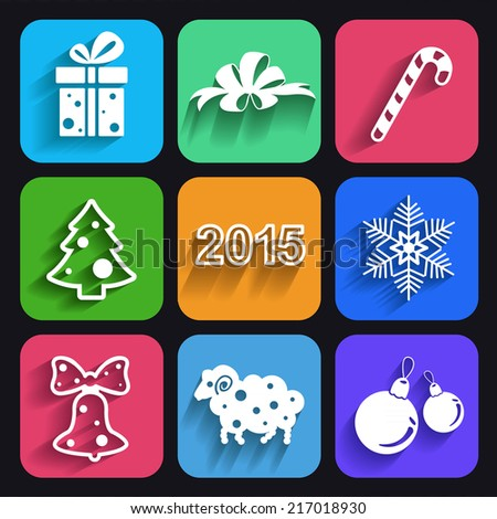 Set of christmas and new year flat icons with long shadows.