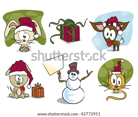 Set of Christmas animals, snowman, and gift /present.