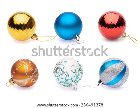 set of christmas balls on white background - stock photo