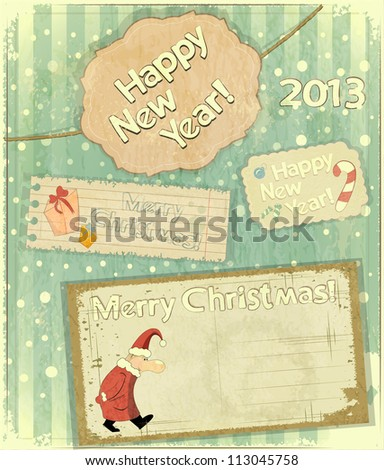 set of Christmas cards - New Year postcard in Retro style - JPEG version