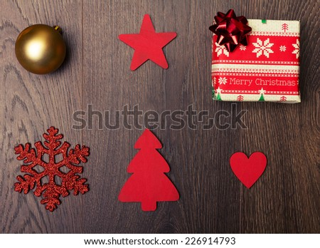 Set of Christmas decorations on a wooden background