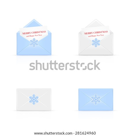 Set of Christmas envelopes with card and snowflakes, illustration. - stock photo