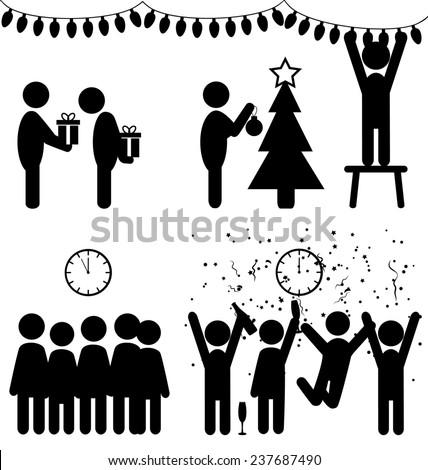 Set of Christmas flat office icons isolated on white background - stock photo