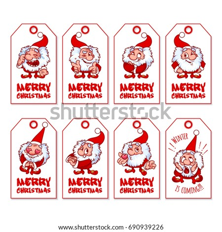 Set christmas gift tags cute shaggy 690939226 set of christmas gift tags with cute shaggy gnome holiday label ready to negle Image collections