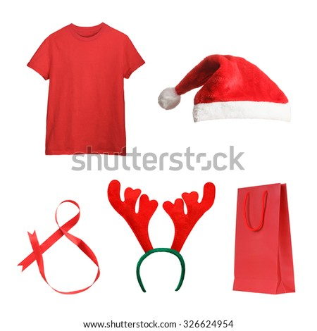 Set of Christmas gifts - red t-shirt, Santa hat, ribbon, deer antlers, present bag isolated on white. Christmas shopping concept - stock photo