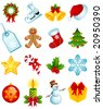 set of christmas icons - stock photo