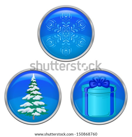 Set of Christmas icons buttons, holiday symbols, isolated on white background - stock photo