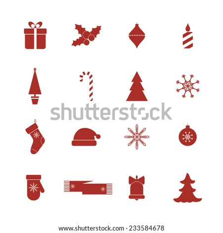 Set of Christmas icons. . Raster version