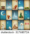 Set of  Christmas illustrations adventures Teddy and Bunny - stock vector