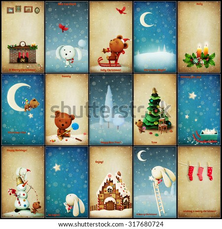 Set of  Christmas illustrations adventures Teddy and Bunny - stock photo