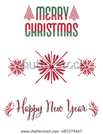 Set of Christmas lettering designs