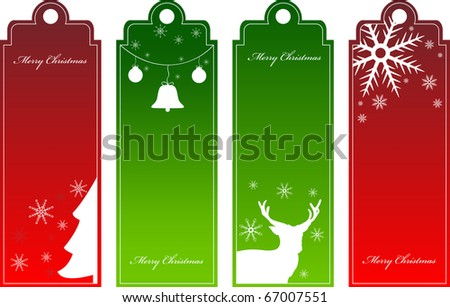 Set of christmas red and green tags
