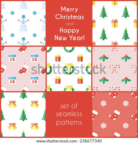 Set of Christmas seamless backgrounds in flat style.