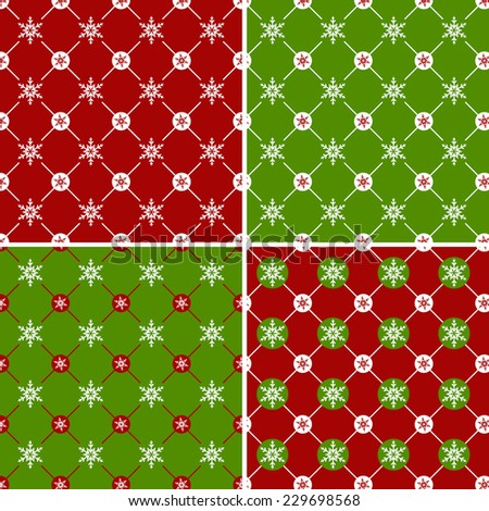Set of christmas seamless patterns with snowflakes. Raster copy. - stock photo