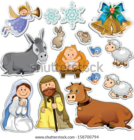 Set of Christmas stickers representing the characters of the holy family - stock photo