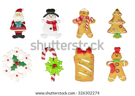 Set of Christmas tree cookies, santa, middle-aged man, snowman, snowflake, candy. New year food - stock photo