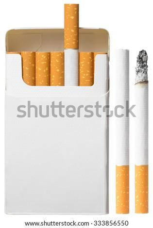 Set of cigarettes isolated on white - stock photo