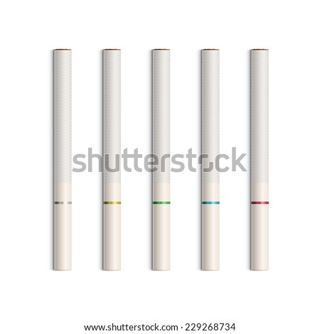 Set of Cigarettes With White Filters Isolated - stock photo