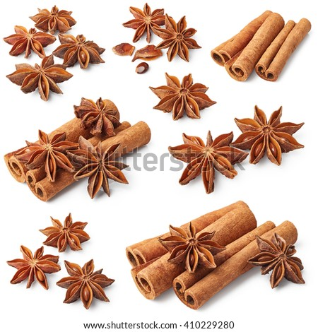 Set of cinnamon and star anise isolated on white background - stock photo