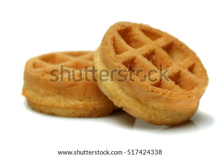 Set of circle mini waffles. Isolated on white background