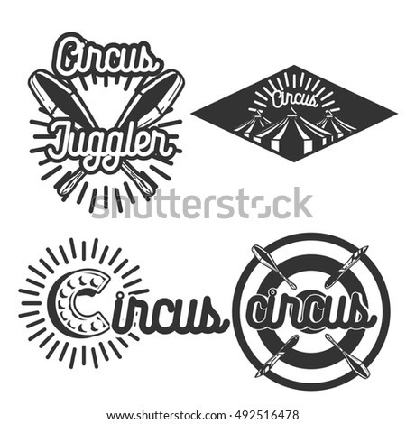 Set of circus labels. Elements for design on the circus theme. Collection of circus symbols. Modern labels of circus. Emblems and logos of circus.