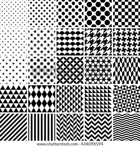Set of 25 classic geometric patterns - stock photo