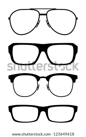 Set of classic glasses, isolated on white background - stock photo
