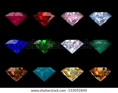 Set of 12 classic round brilliant cut gems of various colors, side view isolated on black background
