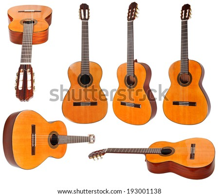 set of classical acoustic guitars isolated on white background - stock photo