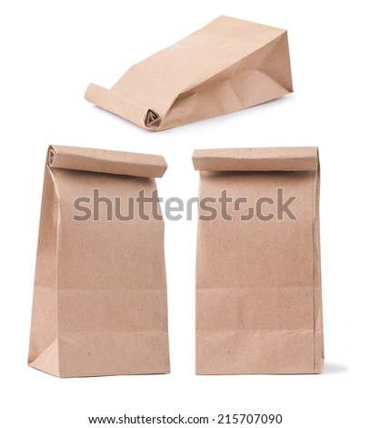 set of classical brown paper bag in three different foreshortenings isolated on white - stock photo