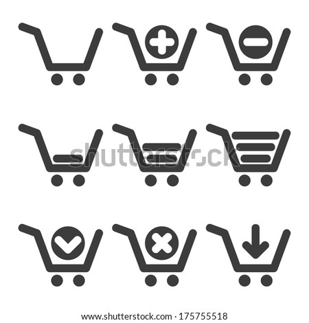 Set of clean shopping cart isolated icons - stock photo